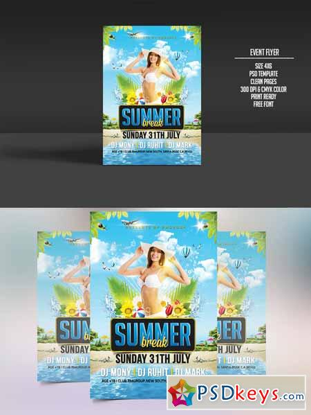 Summer Break Party Flyer 256518