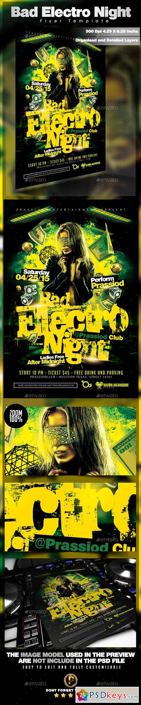 Bad Electro Night Flyer Template 11294479
