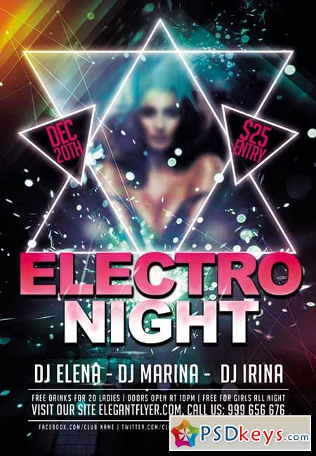 Electro Night Premium Club flyer PSD Template + FB Cover