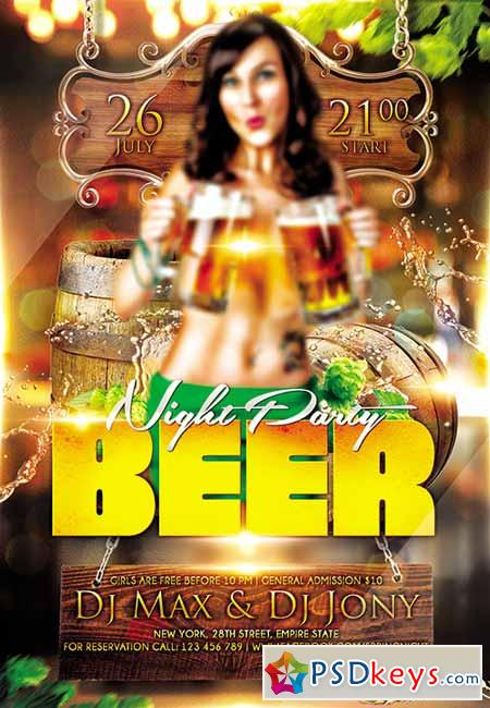 Beer night party Flyer PSD Template + FB Cover