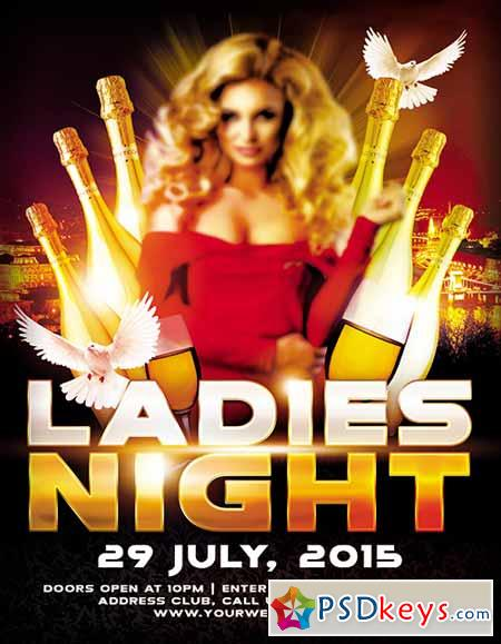 Ladies Night Design V02 Flyer PSD Template + FB Cover