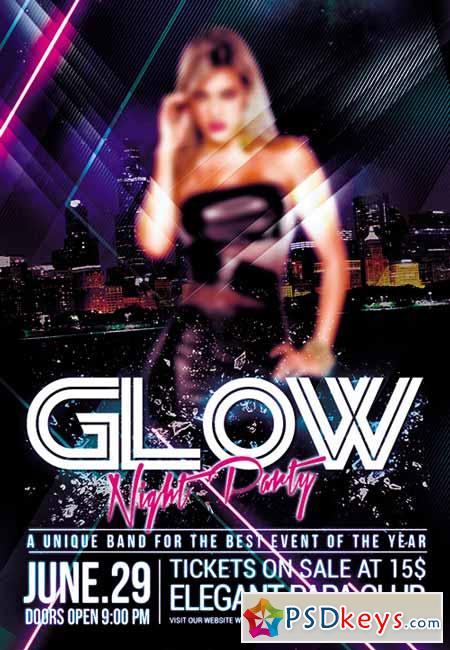 Glow Night Party Premium Club flyer PSD Template + FB Cover