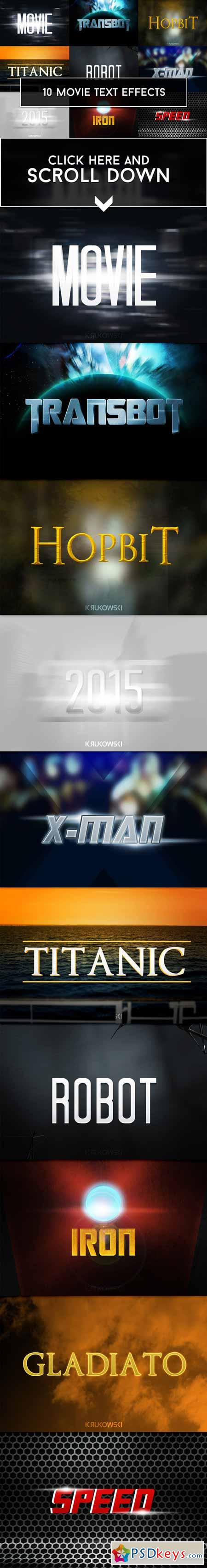 Movie Text Effects 265114 » Free Download Photoshop Vector