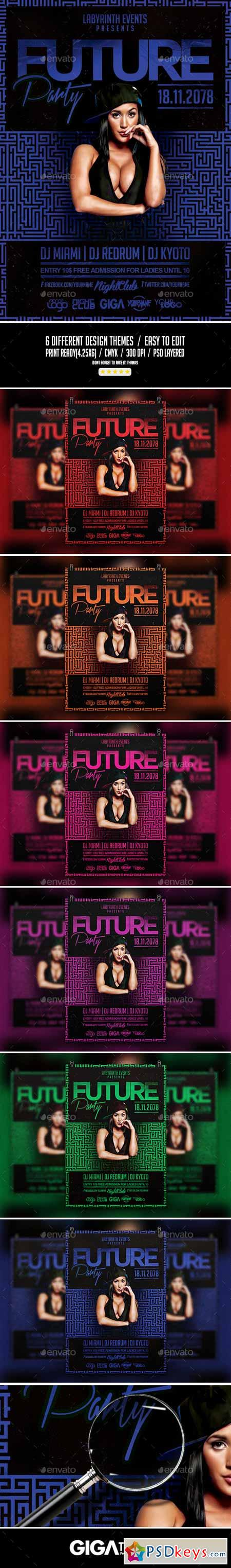Future Party Hip-Hop Night Flyer PSD Template 11096229