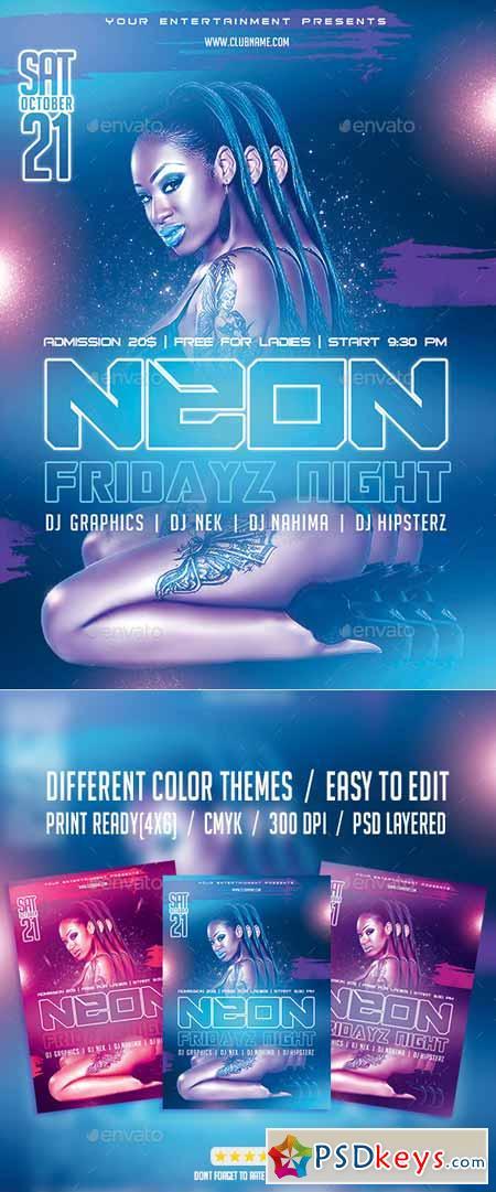 Neon Fridayz Night PSD Flyer Template 9532771