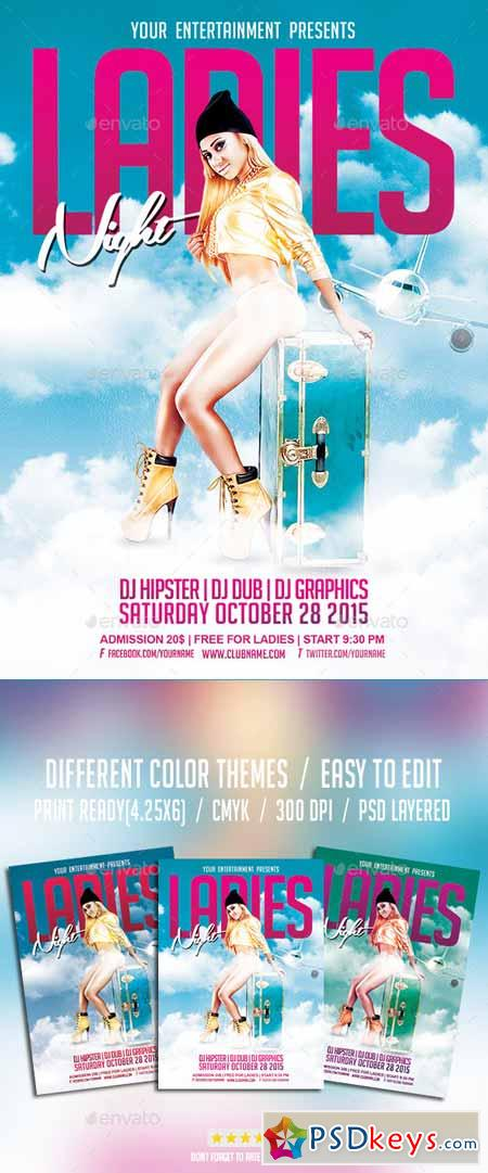 Ladies Night Party Flyer PSD Template 10201433
