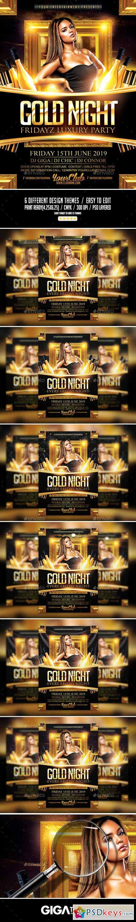 Gold Night Fridayz Luxury Flyer PSD Template 11265160