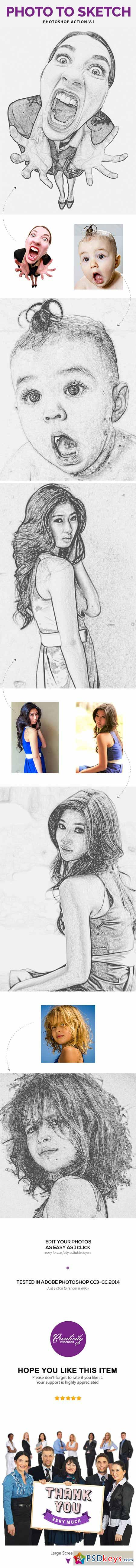 Photo to Sketch V.1 - Photoshop Action 11454702