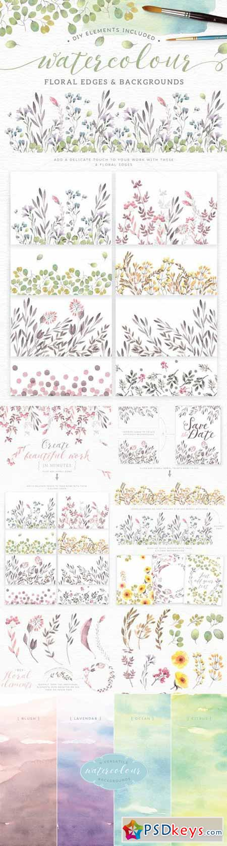 Watercolor floral edges+backgrounds 244367