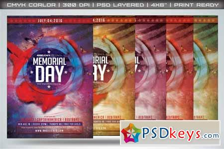 Memorial Day Flyer Template   Free Download Photoshop Vector
