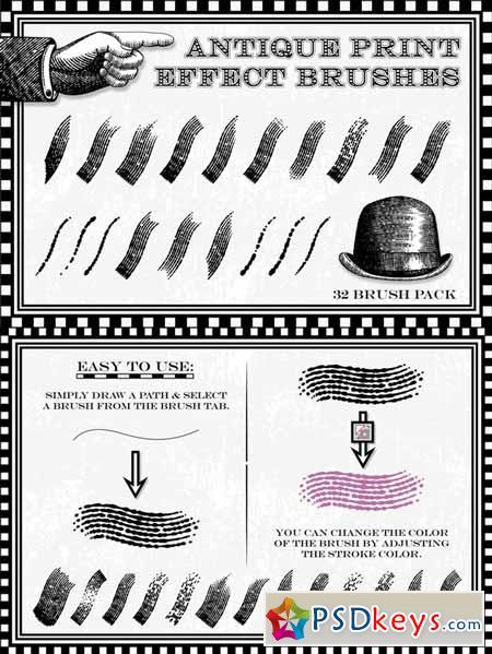 Antique Print Effect Brushes 22254