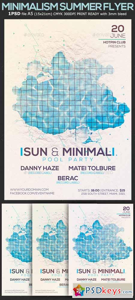 Minimalism Summer Pool Party Flyer Template    Free
