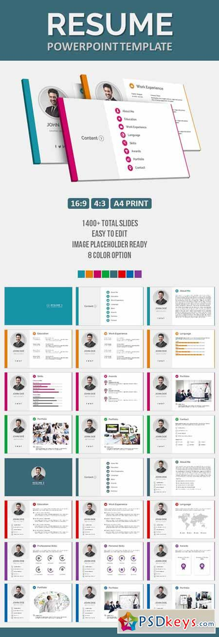 Resume Powerpoint Template   Free Download Photoshop Vector