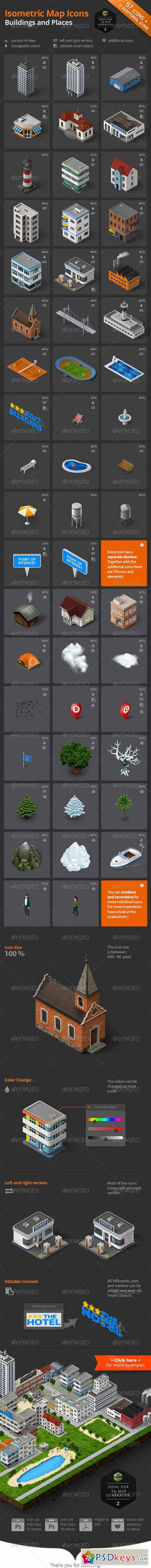 Isometric Map Icons - Buildings and Places 8081725