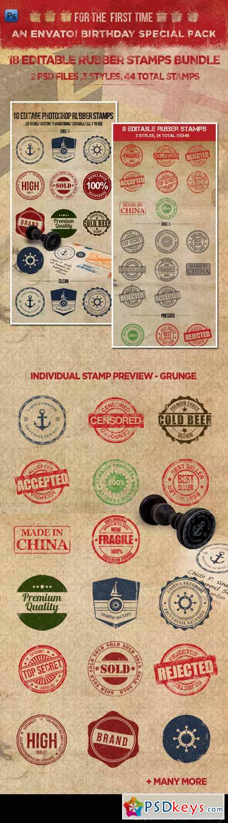 18 Editable Rubber Stamps Bundle 2891297