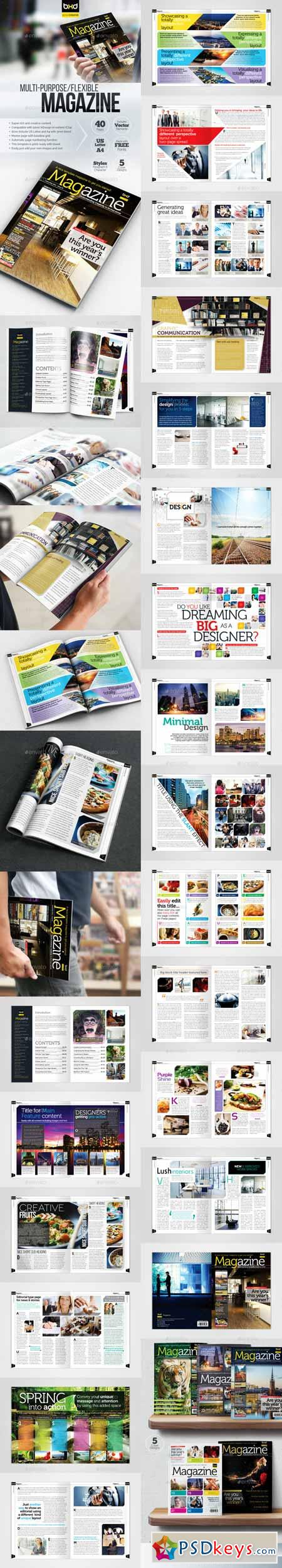 Magazine Template - InDesign 40 Page Layout V1 427849 » Free ...