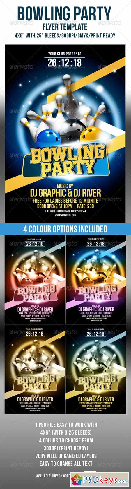 Bowling Party Flyer Template 4583827 » Free Download Photoshop