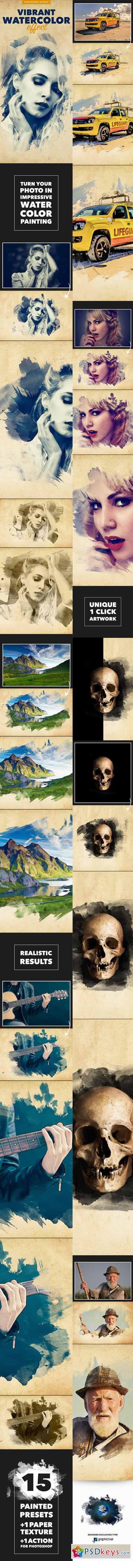 Vibrant Watercolor Effect - Photoshop Action 11869640
