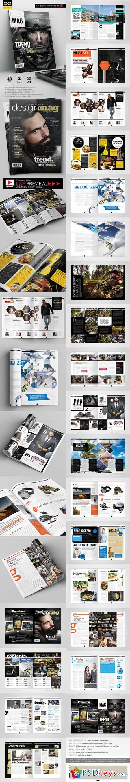 Magazine Template - InDesign 40 Page Layout V6 10374588 » Free ...