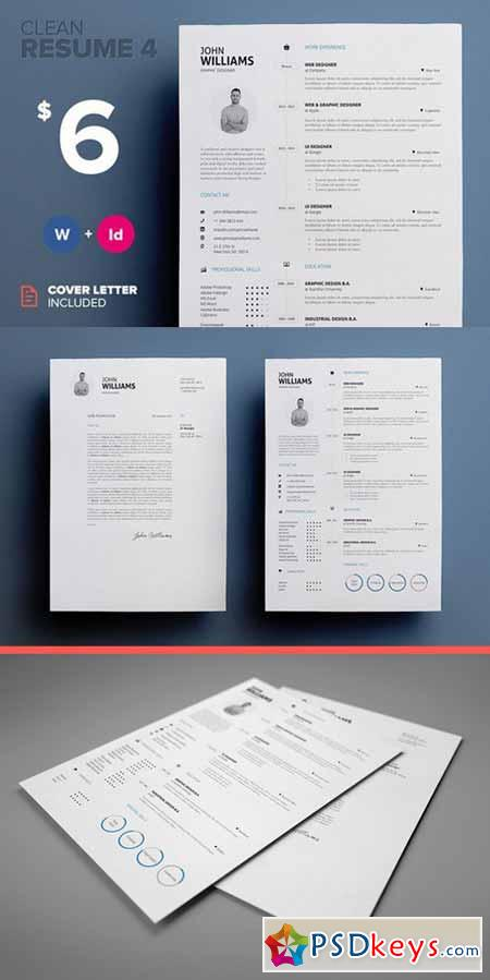 Clean Resume 4 - Word & Indesign 304488