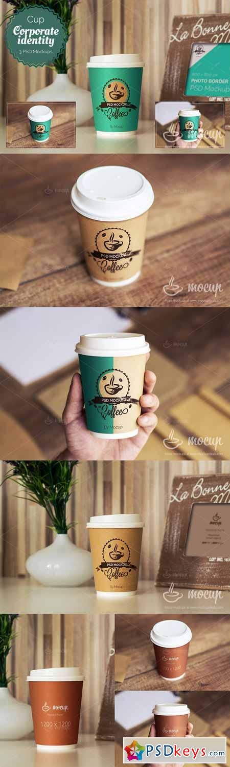 3 PSD Coffee Cup Mockups 308293