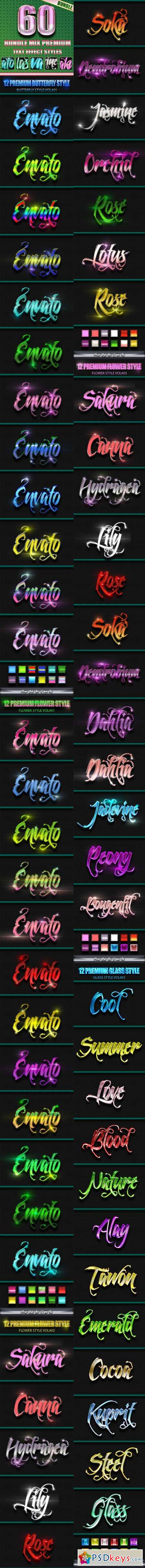 60 Bundle Mix Premium Text Effect Styles 11883043