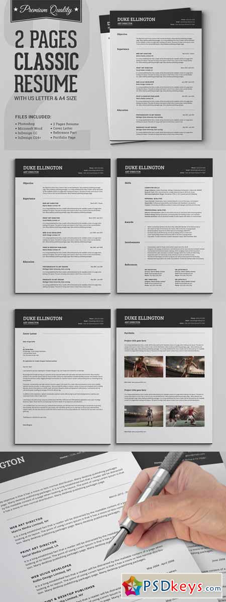 two pages classic resume cv template 282144  u00bb free