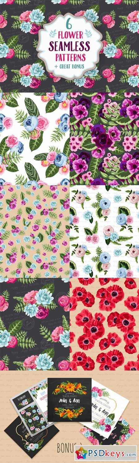 Set of 6 seamless flower patterns 165156