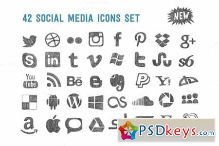 Sketchy social media icons set 100751
