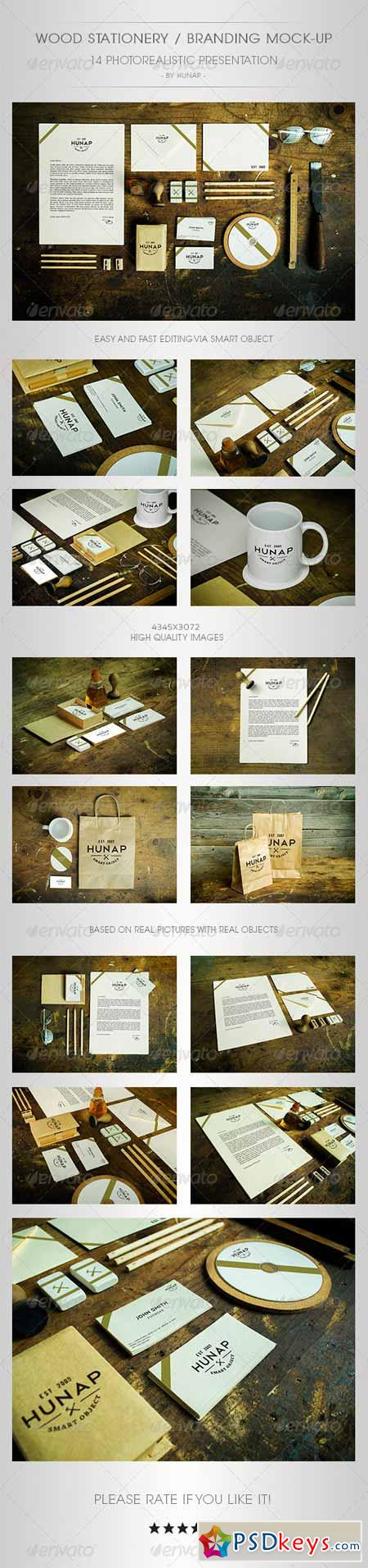 Wood Stationery Branding Mock-Up 5321066
