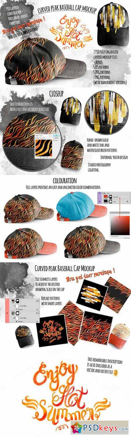 Curved peak Baseball Cap Mockup 315210