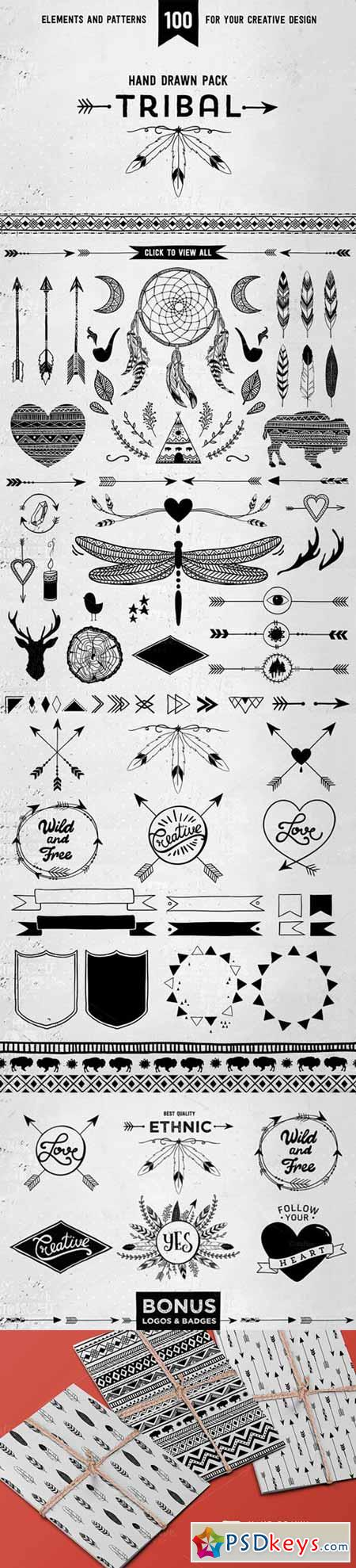 Hand drawn tribal design vector pack 137661