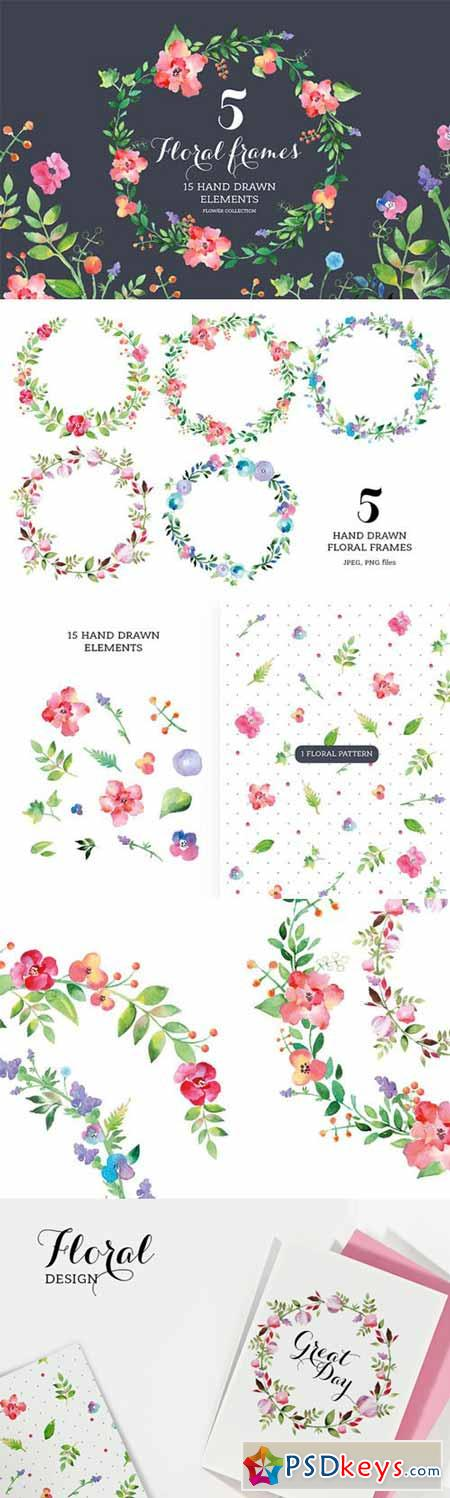 Set of watercolour Floral Frames 65547