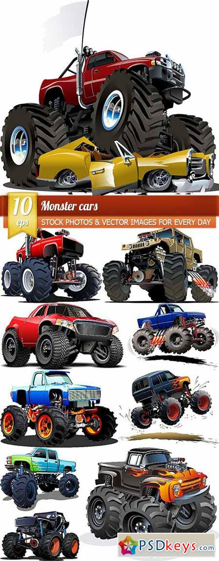 Monster cars, 10 x EPS