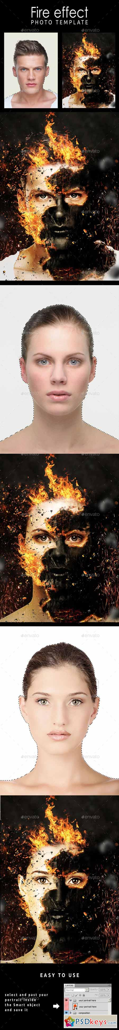Fire Effect Photo Template 11108155