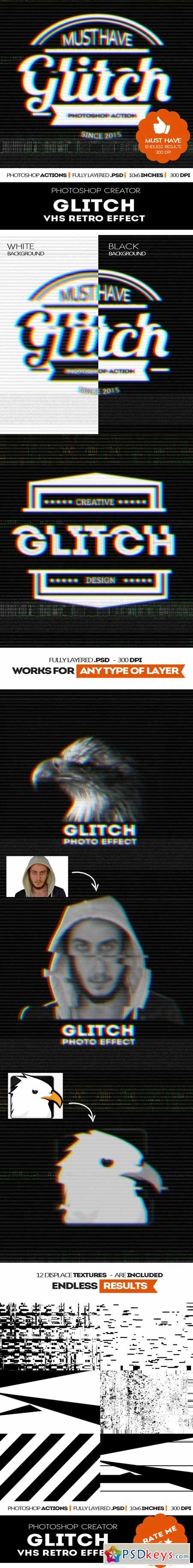 Glitch VHS Corrupt Image Effect Photoshop Actions 11939518