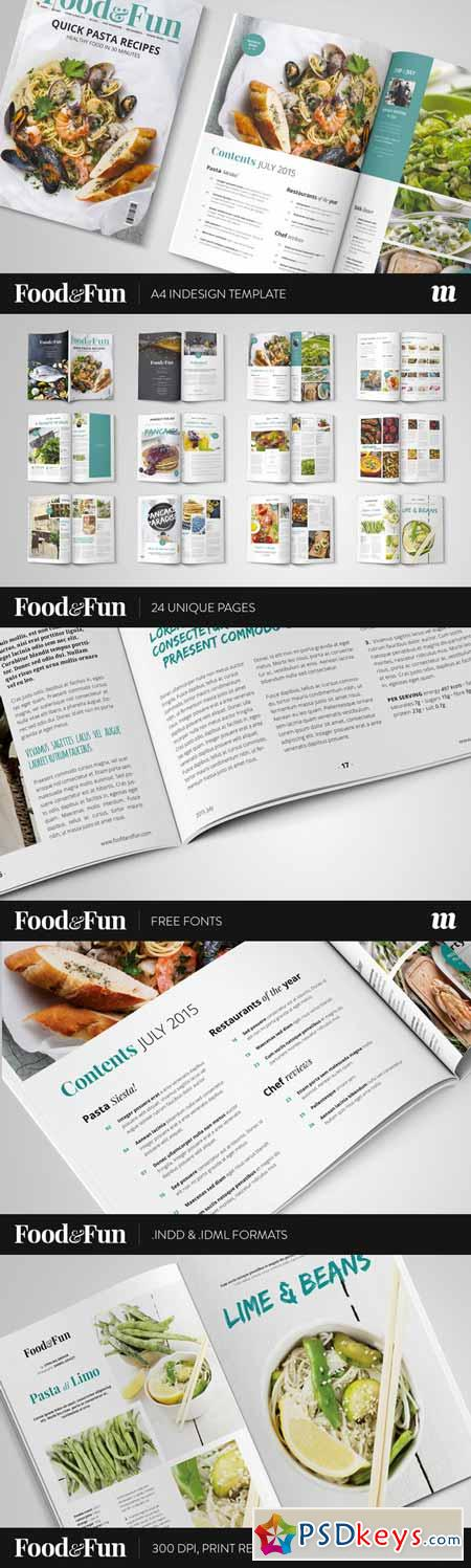 Food&Fun Magazine InDesign Template 324494 » Free Download Photoshop ...