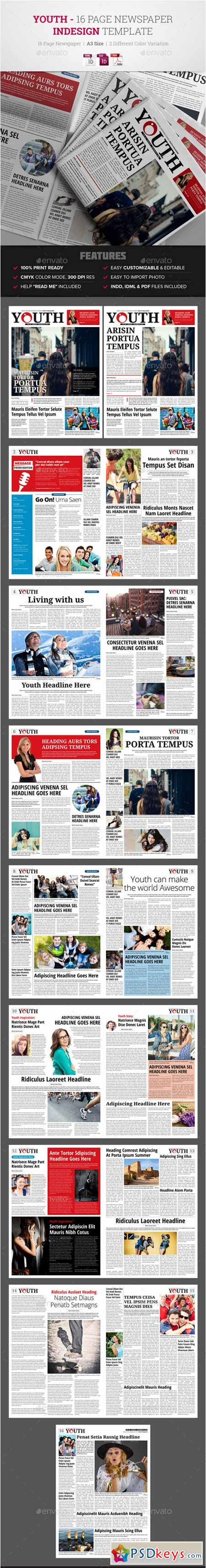 Youth - 16 Page Newspaper Indesign Template 12173192