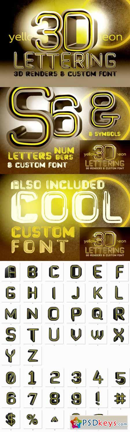 Yellow Neon - 3D Lettering + Font 323525