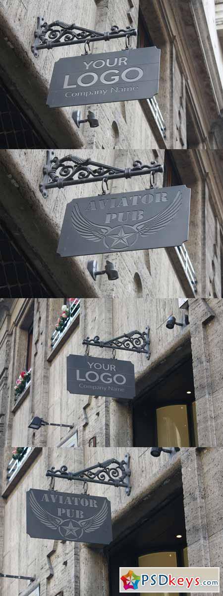 Logo Mock up exterior sign 327795