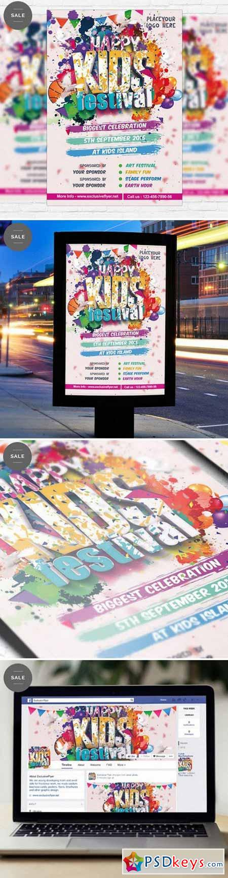 kids festival flyer template facebook cover free download