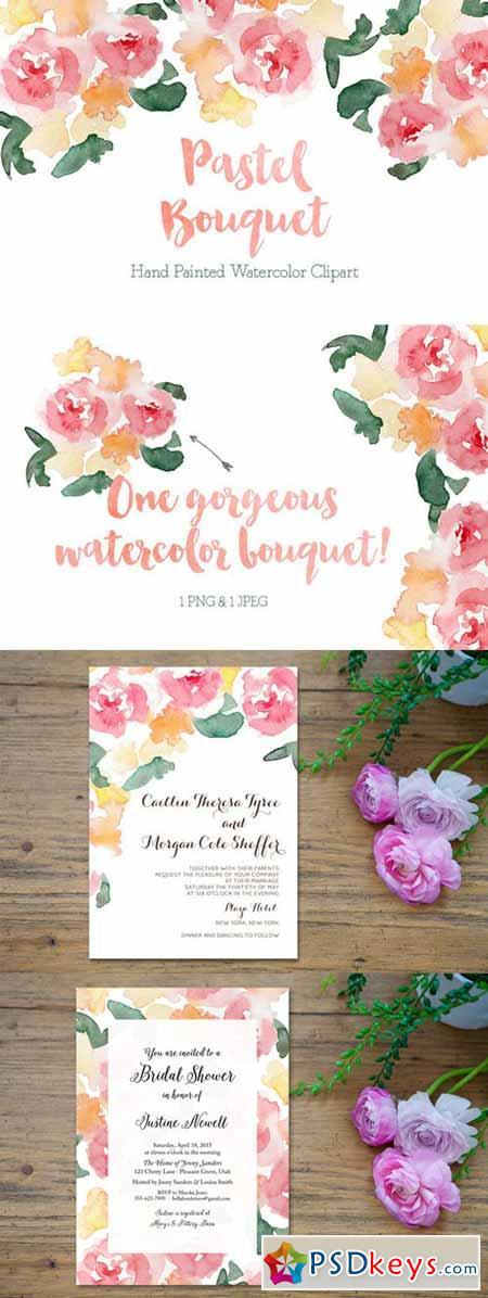 Pastel Watercolor Bouquet Clipart 233933 » Free Download Photoshop ...