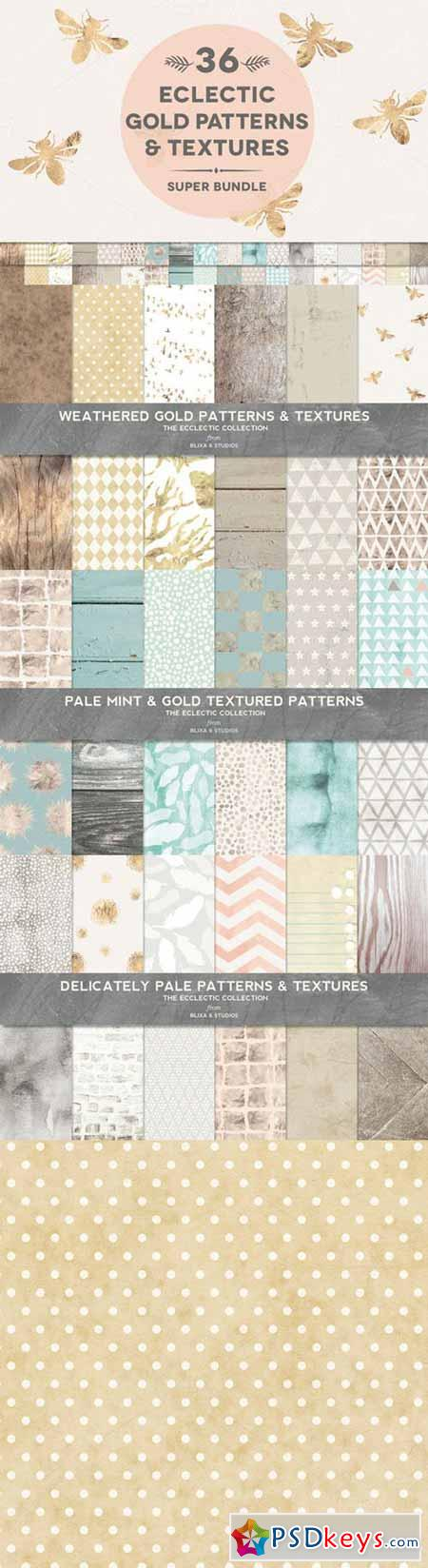 36 Gold & Weathered Texture Bundle 305168