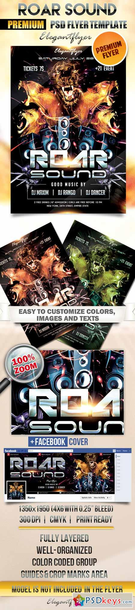 roar sound  u2013 flyer psd template   facebook cover  u00bb free