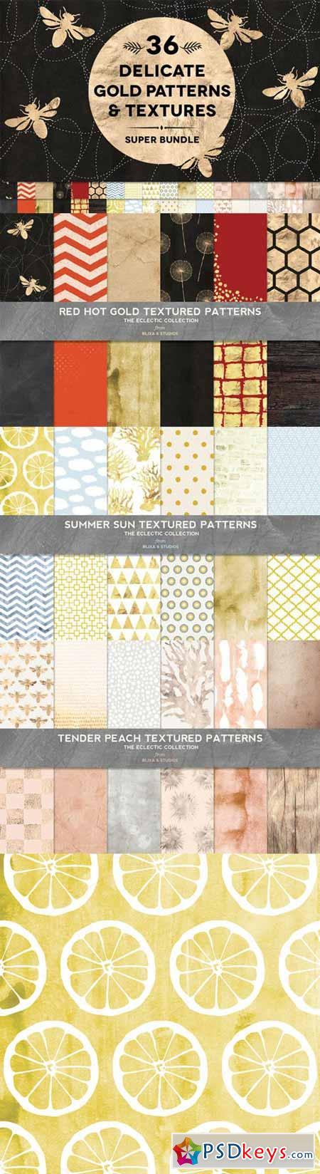 36 Delicate Gold Patterns & Textures 315204