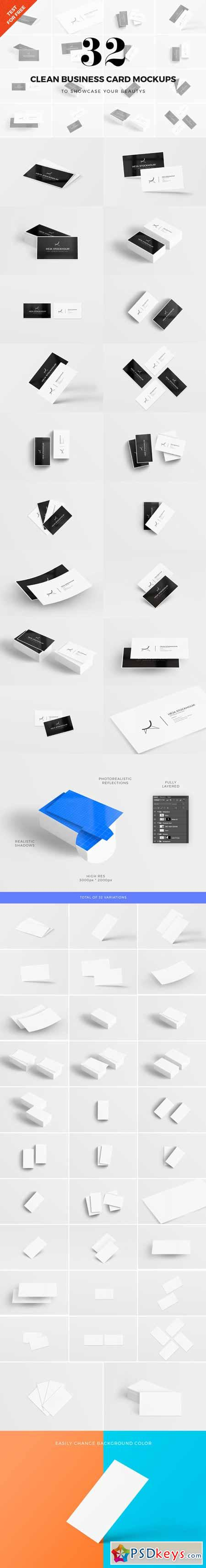 32 Clean Business Card Mockups 339621