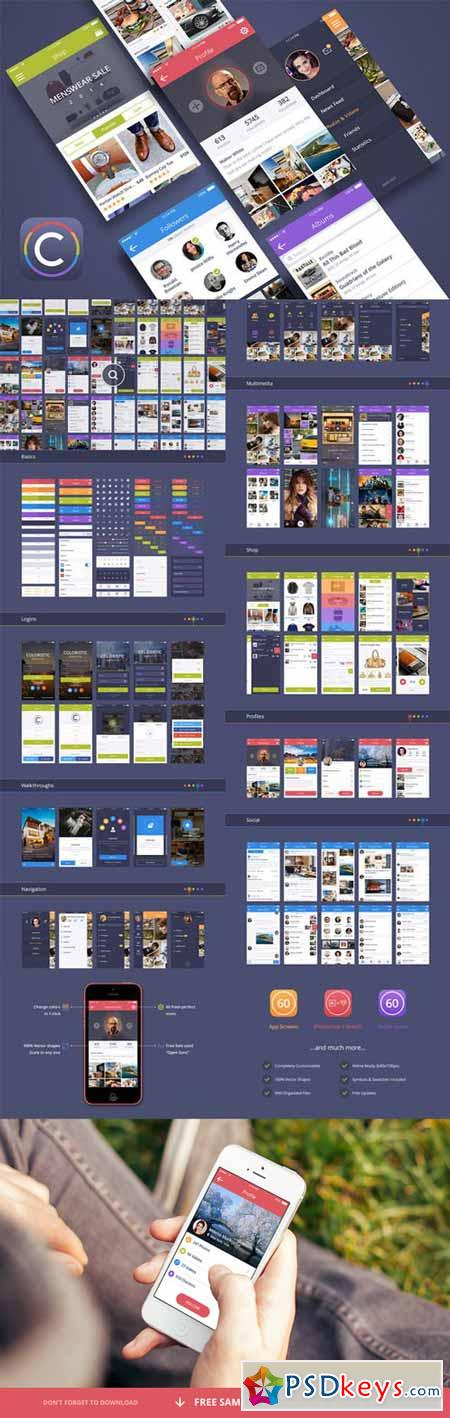 Coloristic iOS Android UI Kit 90715