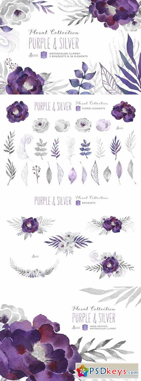 Purple & Silver floral collection 265479