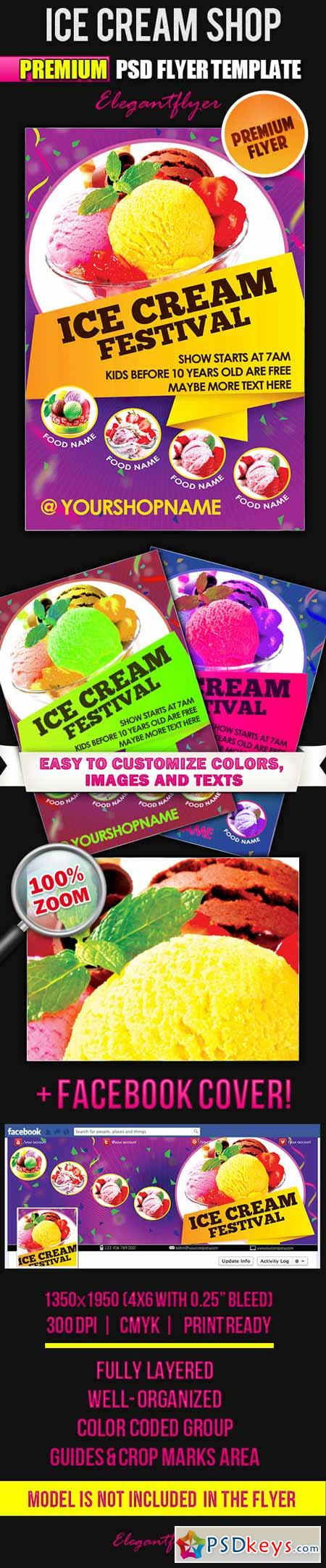 Ice Cream Shop – Flyer PSD Template + Facebook Cover
