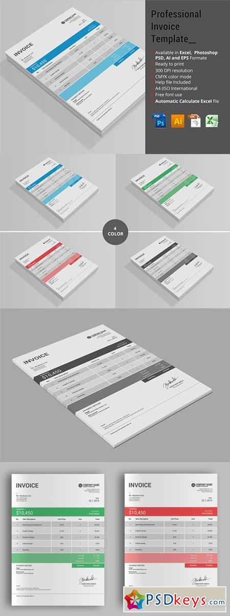 professional invoice template 347602 » free download photoshop, Simple invoice